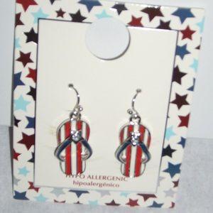 🆕🇺🇸Thong Sandal Earrings Patriotic